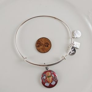 Alex and Ani Silver Red Gingerbread Man Bracelet